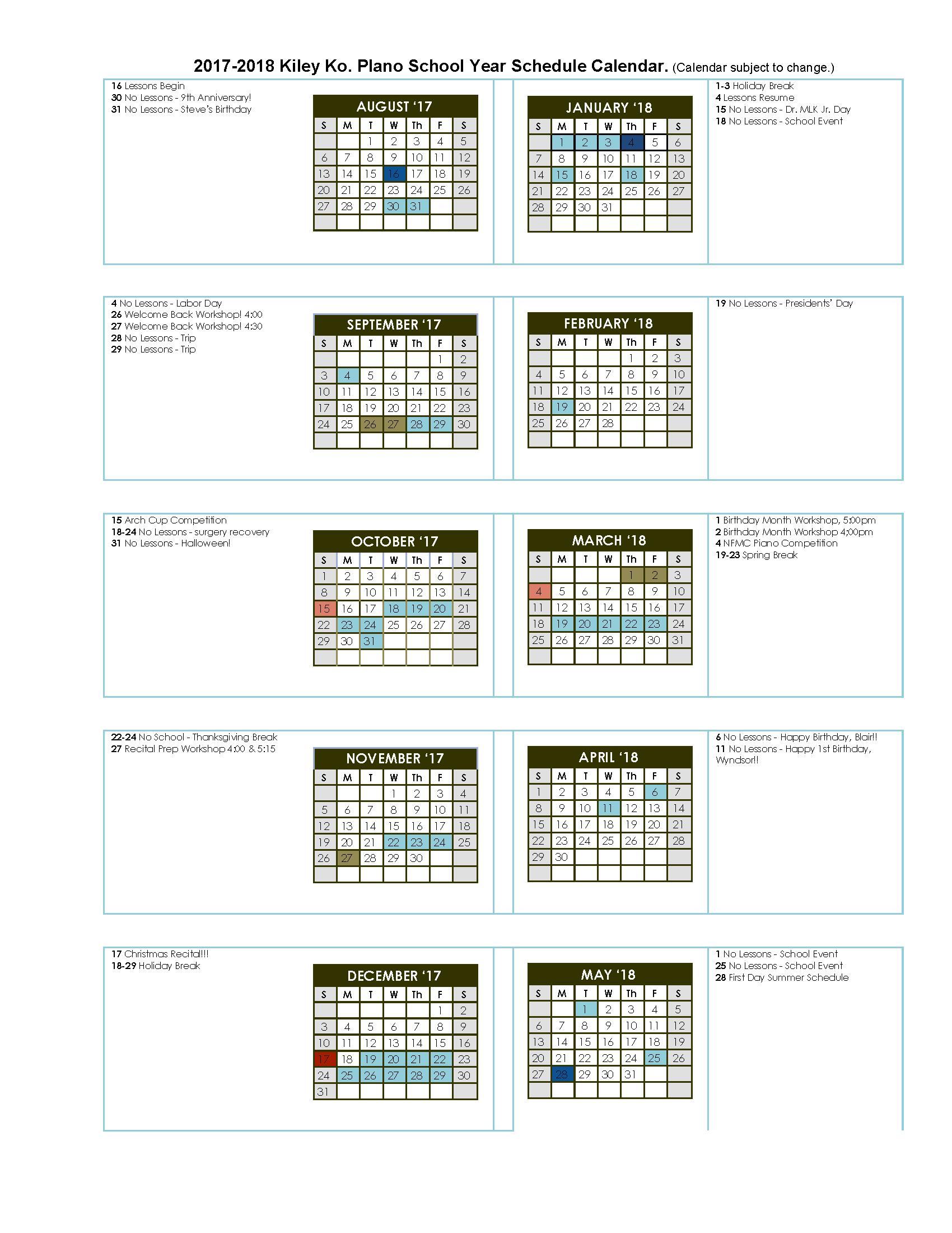 school year calendar 2018